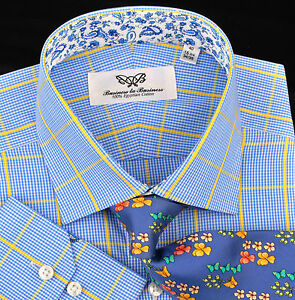 Blue-Yellow-Luxury-Dress-Shirt-Formal-Business-Contrast-Colors-Floral-Paisley-XL