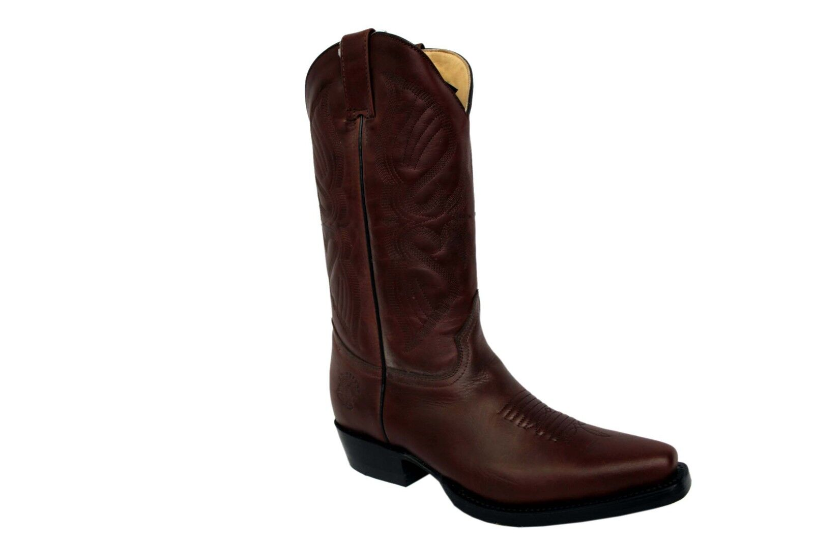 Grinders Louisiana BrownCaoba Mens Leather Pointed Boots Cowboy Western Slip On