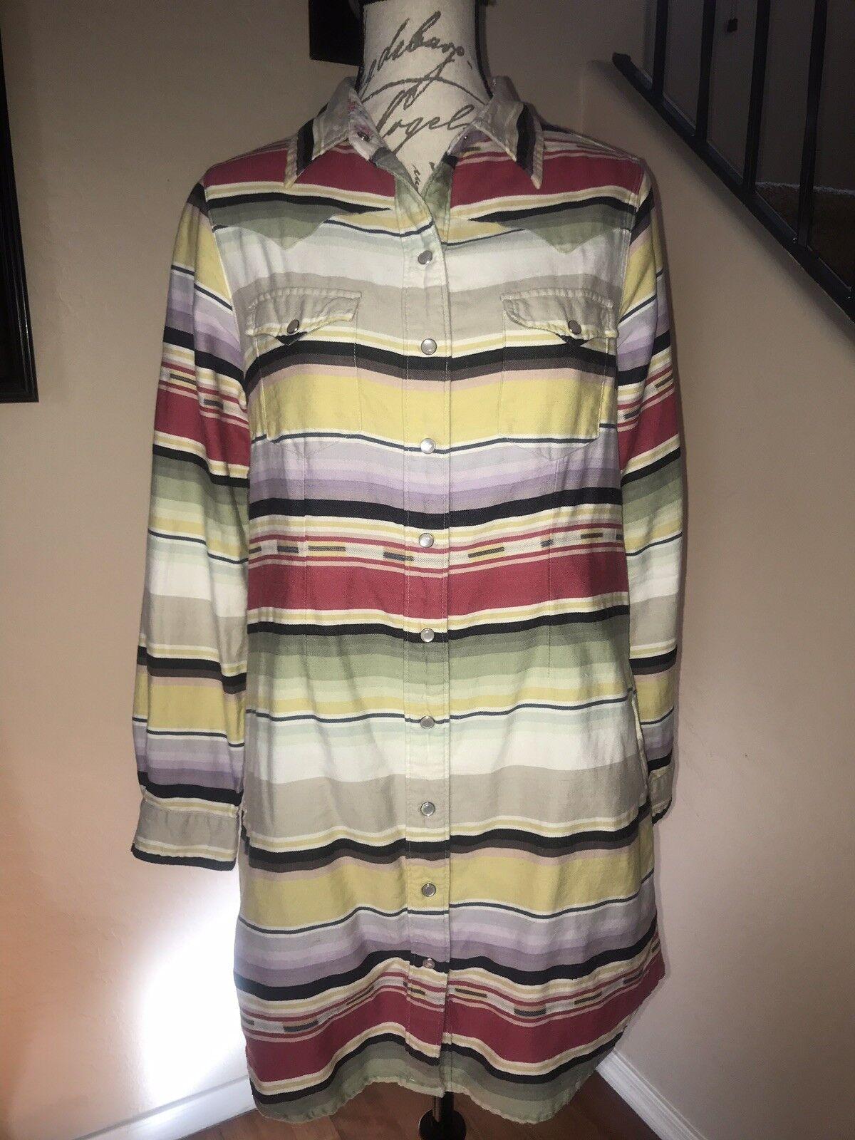 TASHA POLIZZI COLLECTION Stripe Tribal Shirt Dress BOHO Pearl Buttons Sz M