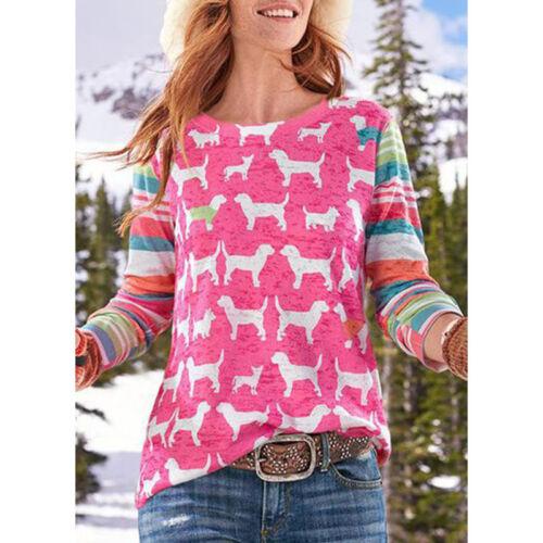 Womens Fox Dog Printed Long Sleeve Blouse Cartoon Pullover T Shirt Tops Casual