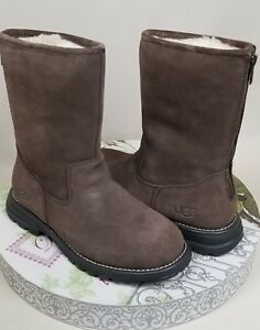 be4f720c89c Details about UGG LANGLEY BROWN SUEDE SHEEPSKIN SHORT ZIP WOMEN`S BOOTS  1016040 SIZE US 5