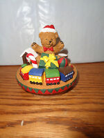 Christmas Teddy Bear With Trains - Holiday Candle Topper - Capper -