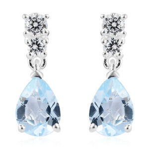 CZ-Dangle-Drop-Earrings-for-Women-Pear-Topaz-Cubic-Zirconia-925-Sterling-Silver