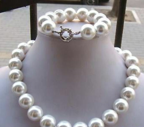 14 mm Blanc AAA South Sea Shell Perle Collier Bracelet Sets