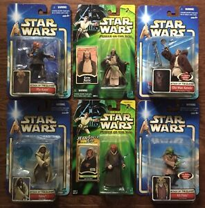 Star-Wars-Jedi-Figure-Lot-Power-of-the-Jedi-Attack-Of-Clones-Eeth-Koth-Plo-Kloon