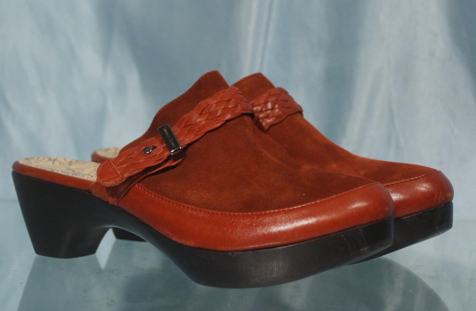 Very Nice Red Leather & Suede TARYN pink Mules or Slides Sz 6 EUR 36.5 M