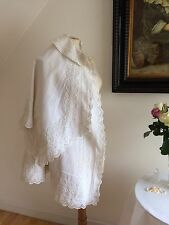 Victorian 1800s Christening Cape Long Robe White Exquisite Silk Embroidery