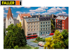 Faller-N-232384-Stadthaeuser-mit-Apotheke-und-Delikatessenhandel-NEU-OVP