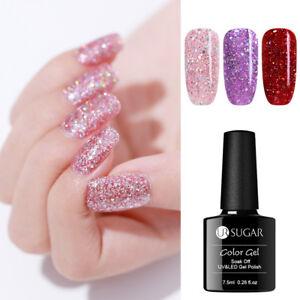 UR-SUGAR-7-5ml-Glitter-Gellack-Sequin-Nagel-Kunst-Soak-Off-Nail-UV-Gel-Manikuere