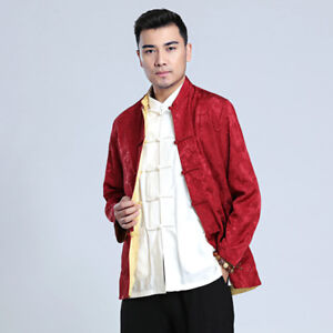 Chinese Men's  Kung fu Party Jacket Double Face Coat Size M-3XL