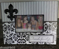 Fleur De Lis - Black And White Picture Frame- 6 X 4 Inch