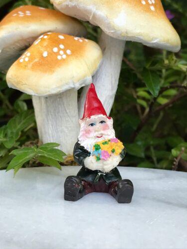 Miniature Dollhouse FAIRY GARDEN  Accessories ~ TINY 1¼ Tall Gnome w/ Flowers