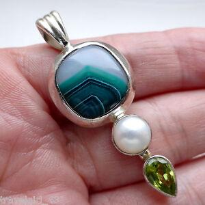 Agate-Pendant-Peridot-Pearl-Solid-Sterling-Silver-925-Handmade-Jewellery