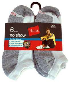 Hanes set of 6 paris Men/'s Durable cushion no show socks fit shoe size 6-12