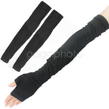 Fashion Women Lady Black Extra Long Lace Arm Warmers Fingerless Gloves Sleeve