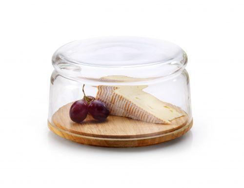 Continenta Käseglocke und Glasschüssel 2-teilig 2in1 Gummibaumholz 3 Größen