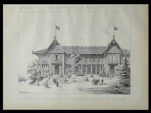 PAVILLON-DES-FORETS-EXPO-UNIVERSELLE-1889-PLANCHE-ARCHITECTURE-LEBLANC