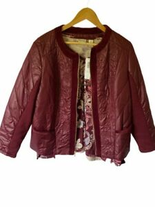 Chicos-Womens-2-Piece-Bomber-Jacket-Top-Purple-Floral-Short-Zip-Up-Large-Size-2