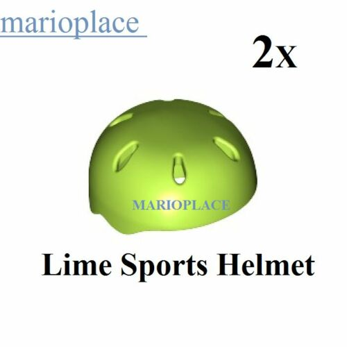 2x LEGO Lime Sports Helmet with Vent Holes (46303) Figure Head  Accessories NEW