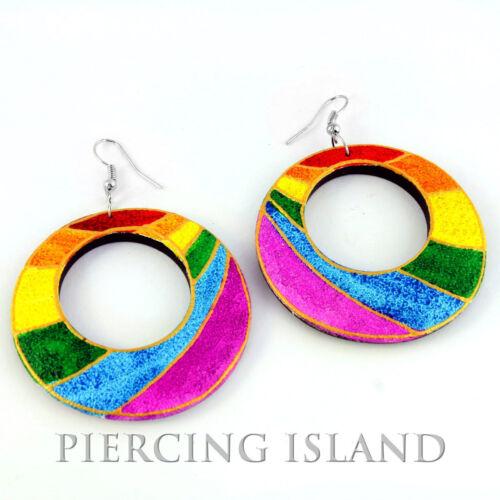 Super Rainbow Arco Iris Design aretes madera Wood Earrings joyas er228
