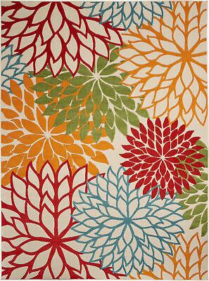 Indoor Outdoor Floral Area Rug Multi Color Patio Home Blue Orange Red Green 5x7 Ebay