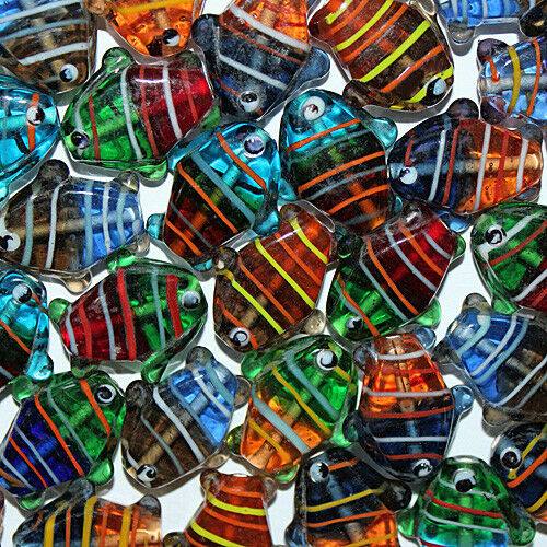 LAMPWORK GLASS FISH BEAD 26MM INDIA MIX 26 BEADS MULTI COLORED WITH STRIPES FG9