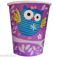 Party Owl 9oz Paper Cups (8) Birthday Supplies Beverage Drink Tableware Girl