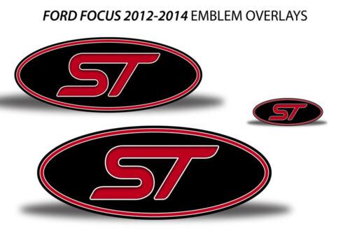 Oval Badge Emblem Logo Overlay Sticker Decals For Ford Focus ST 12-14 RED BLACK