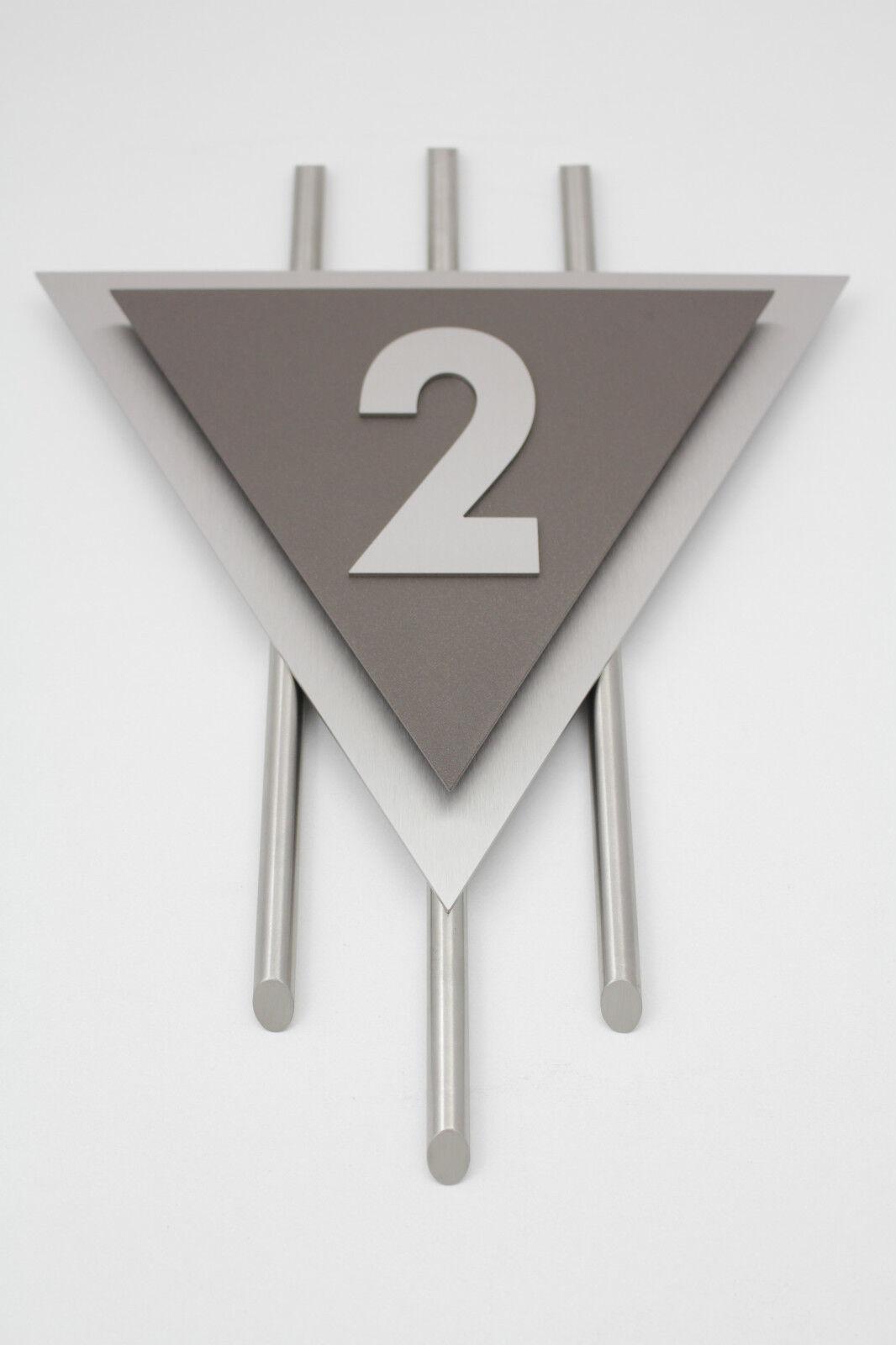 Hausnummer Edelstahl Sepia grau Exklusives Design Venus Zahl 1-9 V2A Zierstangen