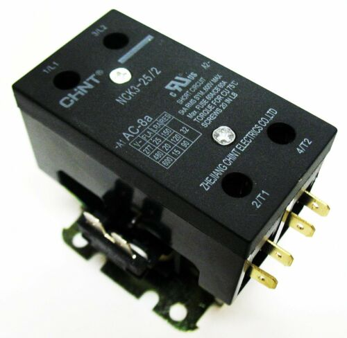 Definite Purpose Contactor HVAC 25 Amp 25A 2 Pole 24VAC 24 Volt Coil UL Listed