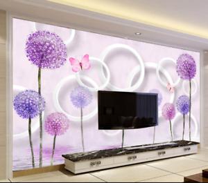 3D purple Löwenzahn Serie 843 Tapete Wandgemälde Tapete Tapeten Bild Familie DE