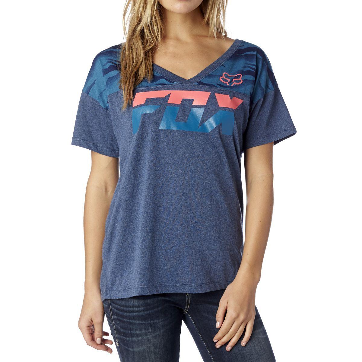 Fox Racing Fox Girl Accomplish Football Tee Shirt Heather Navy