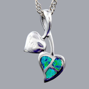 18K-White-Gold-Plated-Blue-Green-Opal-Slide-Pendant-Necklace-Curb-Chain