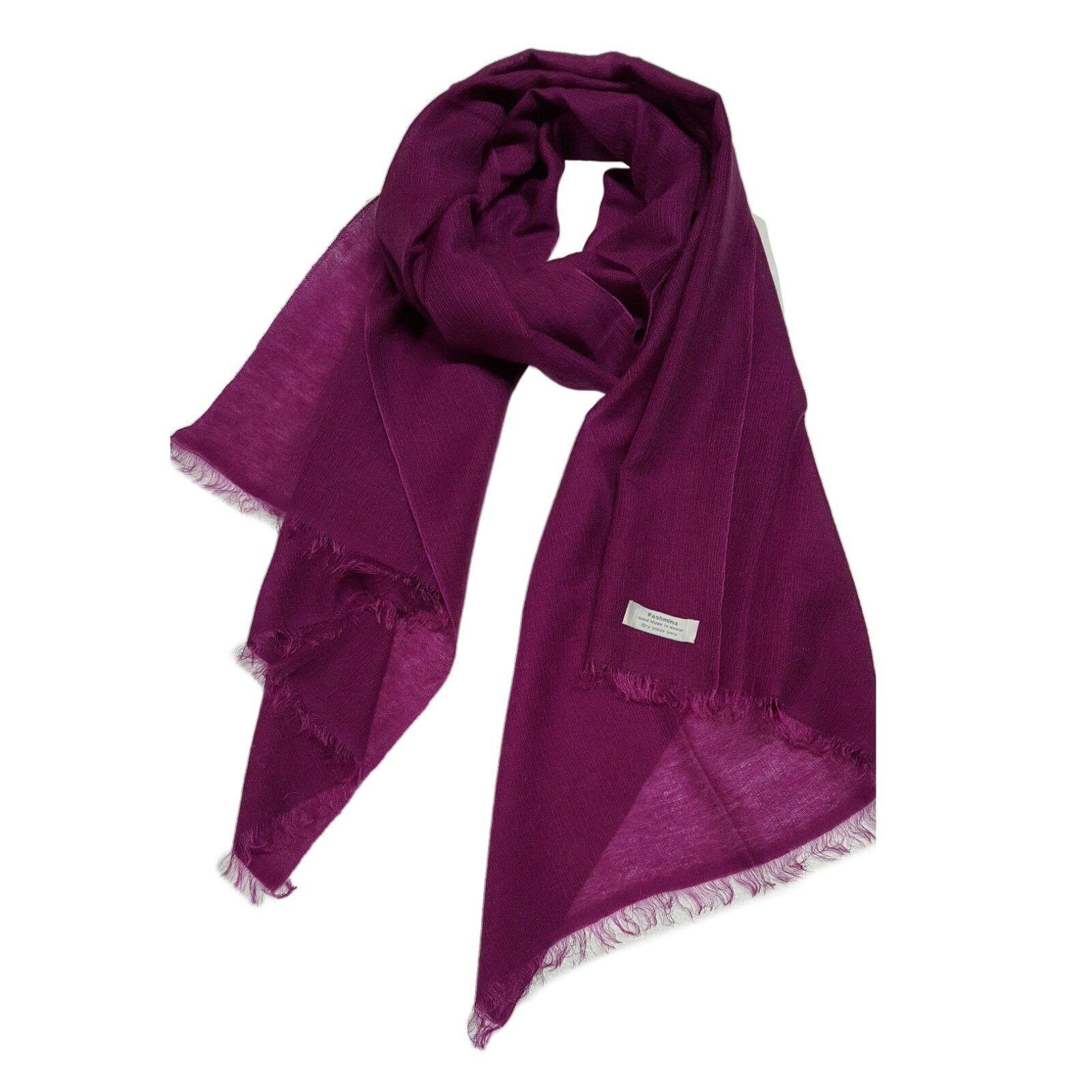 più foto bfa64 6b5b7 Details about PASHMINA sciarpa fucsia 80% cashmere 20% seta MADE IN NEPAL