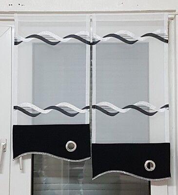 Scheibengardine 2tlg schwarz-weiß-silber