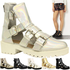 Ladies-Womens-Mid-Heel-Buckles-Strappy-Cut-Out-Gladiator-Ankle-Boots-Shoes-Size