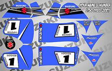 suzuki lt50 quad graphics stickers decals name & number mx laminate vinyl blue