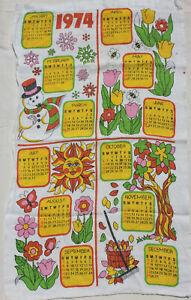 Vintage-1974-Calendar-Tea-Towel-Linen-Pink-Yellow-Green-Bee-Flower-Sun-Snowman