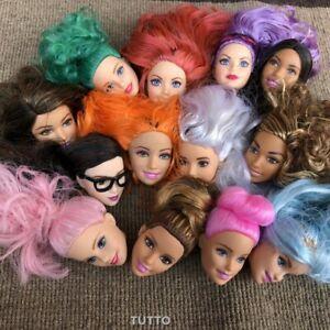 Details About 6pcs Random Mattel Barbie Styling Makeup Head Multi Colored Hair Girl Toys