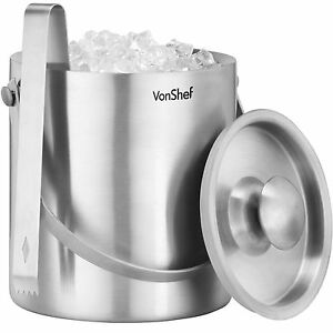 VonShef-Ice-Bucket-Silver-2L-Stainless-Steel-Insulated-Lid-Tongs-Wine-Cooler