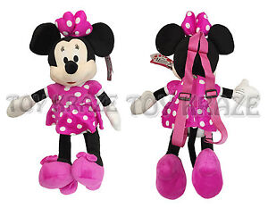 d03634b575f Image is loading MINNIE-MOUSE-PLUSH-BACKPACK-PINK-DRESS-DOLL-FIGURE-