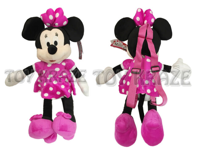 "Disney Mickey Minnie Pink 18/"" inches Plush Backpack For Kids BRAND NEW"