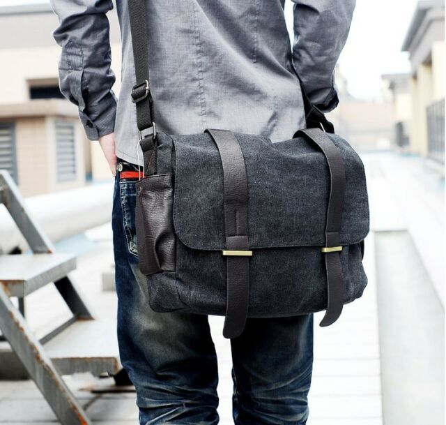 Mens Casual Canvas Vintage  Shoulder  Satchel Rucksack Messenger Backpack Bag