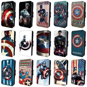 save off 84d7e ad2a0 Details about CAPTAIN AMERICA MARVEL FLIP PHONE CASE COVER for SAMSUNG  GALAXY S5 S6 S7 S8 S9