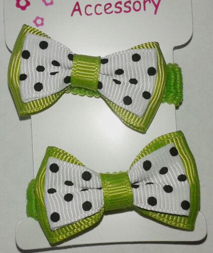 hair bobbles bow ponio elastics polka dot pattern 2 pack colour choice new