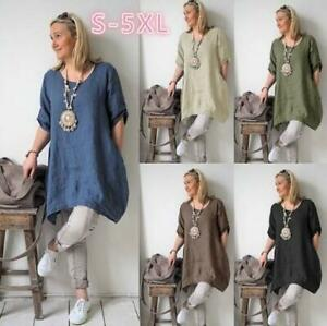 Women-039-s-Casual-Blouse-Short-Sleeve-Boho-Dress-Loose-Tunic-Top-Shirt-Plus-Size