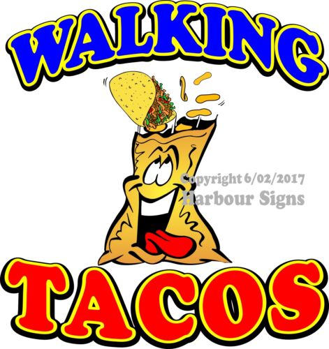Walking Tacos DECAL CHOOSE YOUR SIZE Taco Food Truck Sign Concession Sticker