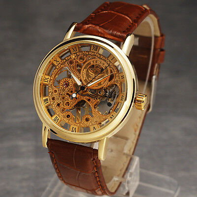 Classic Mens Gold Dial Skeleton Brown Leather Mechanical Sport Army Wrist Watch