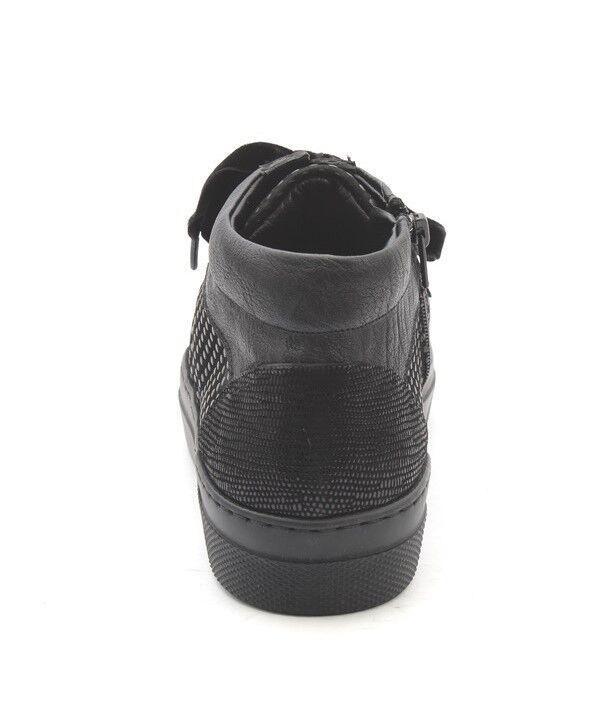 Lucrezia B. 200 W Noir Argent Cuir Daim à Lacets Lacets Lacets Bottines 36 us 6 c115c7