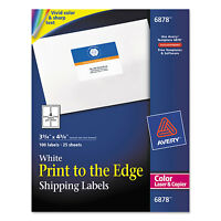 Avery Color Printing Mailing Labels 3 3/4 X 4 3/4 White 100/pack 6878 on sale